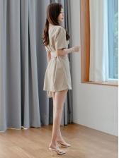 Notch Collar Fashion Blazer Style Short Sleeve Dress