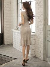 Lace Elegant Fitted Lady Style Sleeveless Dress