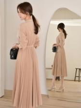 Korean OL Style Blazer Pleated Long Sleeve Dress Women