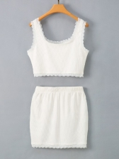 Lace Square Neck White Two Pieces Skirt Sets