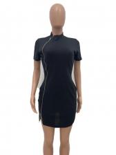 Sexy Zipper Solid Short Sleeve Bodycon Dress