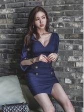 Korean V Neck Denim Mini Dress