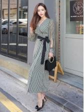 Elegant V Neck Long Sleeve Maxi Dress