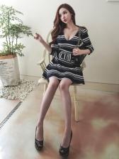 Korean Striped V Neck Bow Short Dress