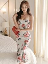 New Strapless Ruffle Sleeveless Bodycon Dress