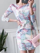Casual Print Crew Neck Long Sleeve Dress