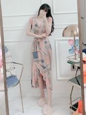 Summer Ruffle Print Casual Maxi Dress
