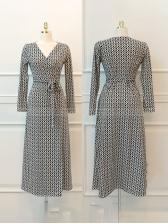 Korean V Neck Print Tie Warp Maxi Dress
