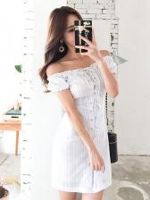 New White Off Shoulder Short Sleeve Dress