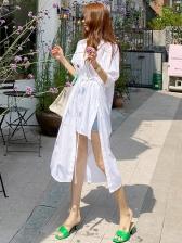 Irregular White Short Sleeve Dress