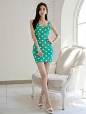 Casual Dot Backless Sleeveless Mini Dress