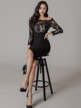 Sexy Lace Patch Off Shoulder Dress