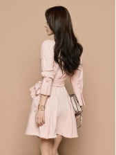 Spring Solid Ruffle Long Sleeve Dress