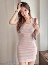 Casual Striped Short Sleeve Mini Dress