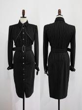OL Striped Long Sleeve Tie Wrap Dress