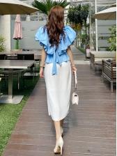 Fashion Solid Ruffle V Neck Blouse