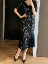 Korean V Neck Lace Short Sleeve Dress