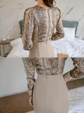 Snake Print Long Sleeve Top With Skirt
