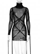 Sexy Gauze High Neck Long Sleeve Dress