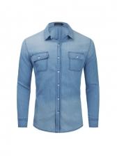 Chest Pocket Loose Fitting Denim Shirts For Men
