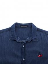 Fitted Cherry Pattern Buttons Denim Shirt