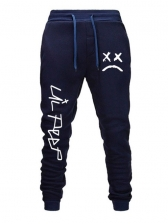 Lace Up Crying Face Print Trousers For Men
