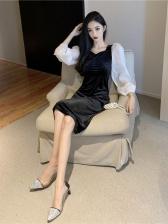 Elegant Puff Sleeve Knee Dress