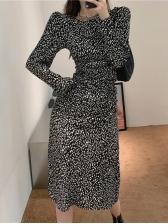 Charming Leopard Long Sleeve Dress