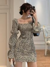Vintage Graceful Puff Sleeve Long Dress