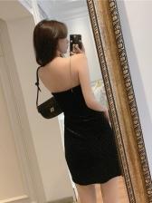 Fashion Velvet Sleeveless Bodycon Dress