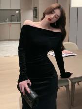 Elegant Off-Shoulder Long Sleeve Velvet Dress