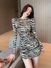 Fashion Zebra O Neck Long Sleeve Dress