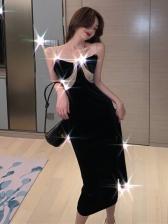 Patchwork Velvet Women Sleeveless Dresses