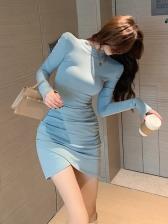 Easy Match Pleated Long Sleeve Short Dress