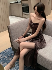 Sexy V Neck Pleated Bodycon Dresses For Women
