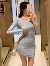 Particular One Shoulder Tassel Decor Dress