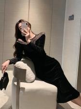 Unique Lace Panel Velvet Dress