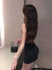 Sexy Bodycon Cheongsam-Designed Sleeveless Dress