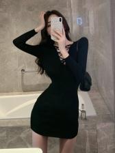 Charming V Neck Long Sleeve Dress