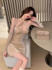Unique Halter Backless Ladies Dress