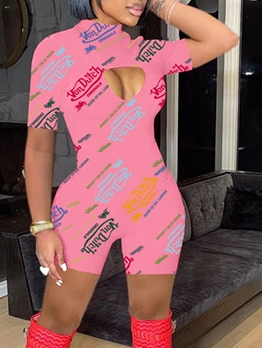 Sexy Print Hollow Out Mock Neck Romper