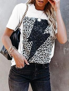 Leopard Design Casual Fashion Short Sleeve T-Shirt