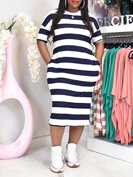 Summer Striped Casual Short Sleeve Maxi Dress
