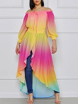 Gradient Color Off Shoulder Long Sleeve Maxi Dress