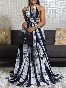 Sexy Contrast Color Halter Maxi Dress