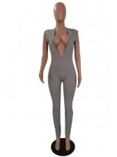 Sexy Deep V Neck Sleeveless Jumpsuit