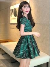 Vintage Polka Dots Short Sleeve Dresses For Women