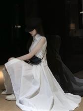 Summer Solid Turn-Down Collar Summer Maxi Dresses