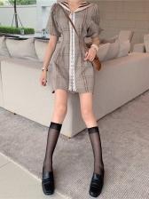 College Style Plaid Short Sleeve Summer Dresses