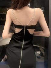 Sexy Rhinestone Strap Backless Sleeveless Maxi Dress